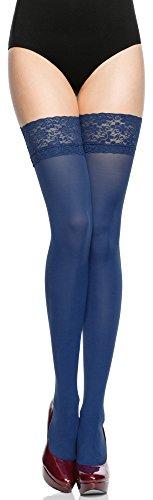 Merry Style Damen halterlose Mikrofaser 40 DEN Strümpfe mit Spitze MSSSJ01 (Jeans, 1/2 (32-38))