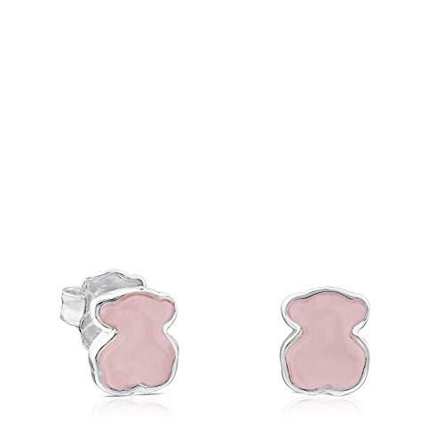 TOUS New Color - Pendientes de Plata de Primera Ley y Cuarcita Rosa, Cierre a Presión - Motivo: 0,9 cm
