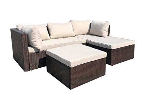 Amazon Basics 3 Piece Patio PE Wicker Rattan Corner Sofa Set