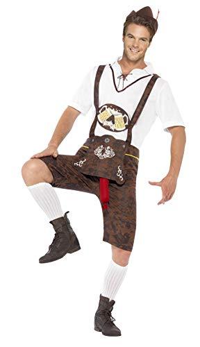 Smiffys-43399L Traje de Brad Wurst, con Pantalones de Cuero, Camisa y Sombrero, Color marrón, L-Tamaño 42