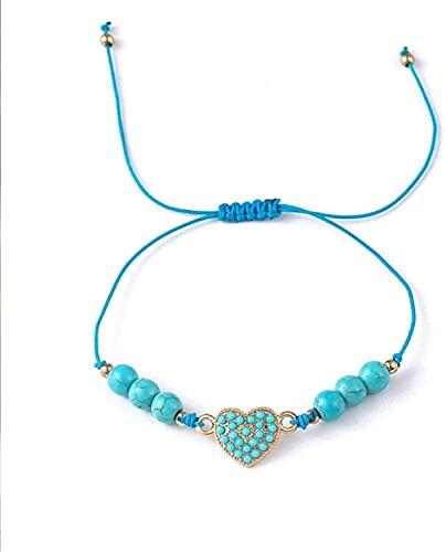 TIANYOU Pulsera de Piedra Mujer, 7 Chakra Perlas de Piedra Natural Turquesa Brazalete Ajustable Azul Colgante Joyería de la Joyería de la Joyería de la Joyería de la Oreja del En
