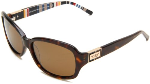 Kate Spade New York Women's Annika Rectangular Sunglasses, Tortoise Stripe/Brown Polarized, 57 mm