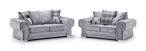 Honeypot - Sofa - Verona - Fabric - Corner Sofa - 3 Seater - 2 Seater - Footstool (Grey, 3 Seater + 2 Seater)