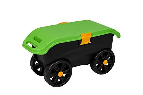 Kreher Gartenhocker aus robustem Kunststoff mit Rollen. Inkl. Staufach, Smartphone Halterung sowie Knieschutz aus Schaumstoff.