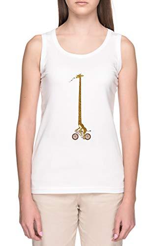 Largo Bicicleta Paseo Mujer Blanco Tank Camiseta Women's White Tank T-Shirt
