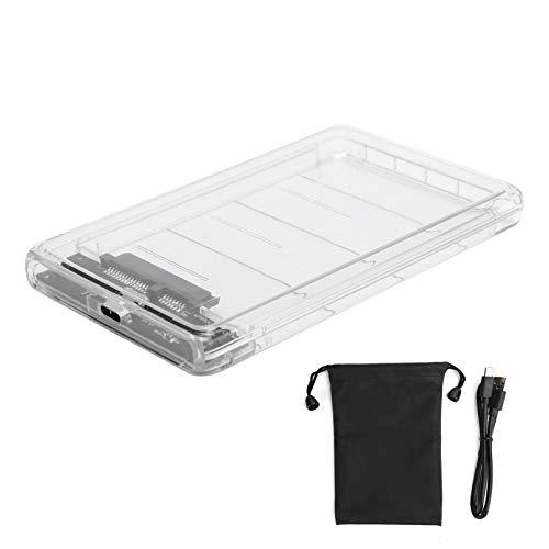 Transparent 2.5-inch SATA Hard Erive External Case, SSD External Hard Drive Enclosure 2.5 inch SATA to USB3.0 SD HDD Mechanical Enclosure, Tool-Free Portable Hard Disk Case Adapter