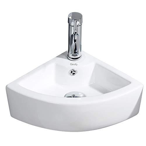 Gimify Lavabo Pequeño Pared Lavamanos Ceramica Blanco para Baño (Triangle 325 * 325 * 130mm)