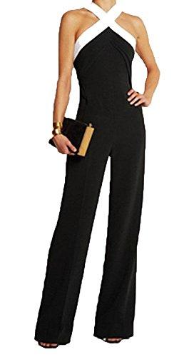Jumpsuit Damen Lang - Elegant Braut Jumpsuits für Braut oder Zeremonie - Abend Jumpsuit Moderne Disco Fashion Abendball oder Party, Schwarz XL