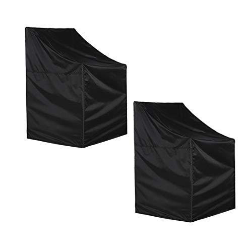 YJF Funda para Silla apilable de jardín Funda Impermeable para Silla de jardín Funda para Silla reclinable para Patio Protector para Muebles de Exterior (75 * 75 * 128 / 80cm, Negro)