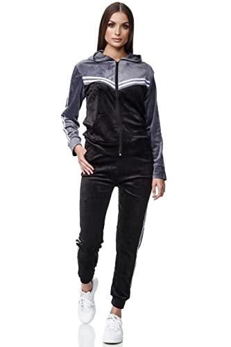 Damen Trainingsanzug Jogginganzug 2 teiler Kapuzenpullover Hose Sportanzug Yoga Velour Velvet Sporthose Chil zuhause Modell 311 Grau XL