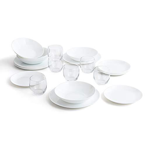 Arcopal Vajilla Blanca Completa para 6 Personas 18 Set de 6 Vasos de Vidrio 26cl, Opal, 19 Piezas