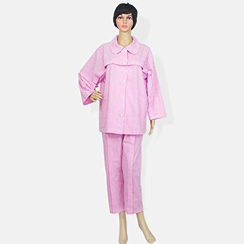 Dameskleding Paralysie verzorging verpleegster gemakkelijk te dragen katoen handicapé voedingskleding pyjama volwassenen, M, Suits