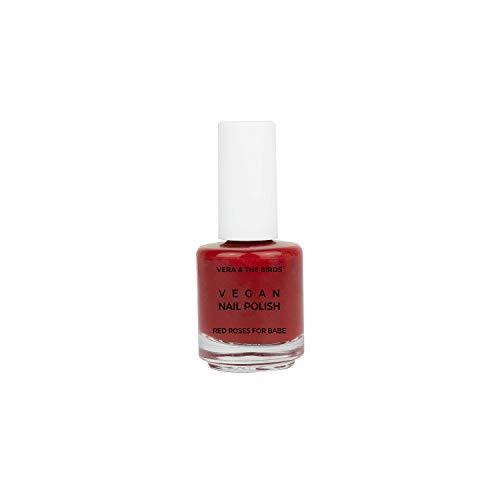 Laca de uñas vegana y natural color rojo 'Vegan nail polish Red roses for babe'