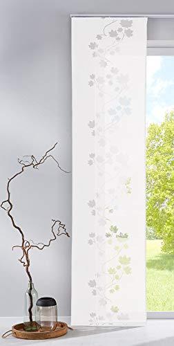 Gardinenbox Moderner Flächenvorhang Schiebegardine Leaf aus hochwertigem Ausbrenner-Stoff mit Klettband, 245x60 (HxB), Weiß, 85610