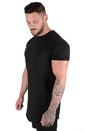 YoungLA Mens Designer Fitted T-Shirts Long Drop Cut Tee Workout Gym 402 Bk M Black