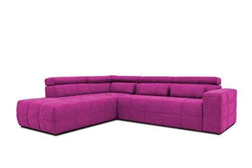 DOMO collection Brandon Ecksofa, Sofa mit Rückenfunktion in L-Form, Polsterecke, Eckgarnitur, lila, 278 x 175 x 80 cm