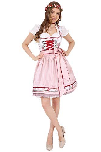 Krüger Dirndl Michelle 47345 50er Länge Blumenmuster weiß rosa (50er Länge Rose, 42)