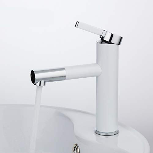 DUKAILIN Kitchen Faucet White Spray Paint Bathtub Sink Faucet Bathroom Hot and Cold Water Faucet with Aerator 360 Rotating Crane Faucet