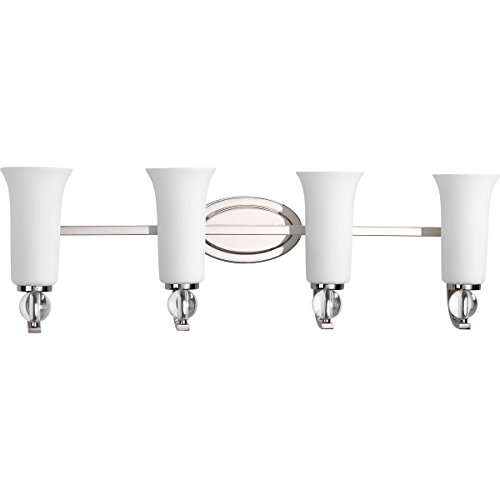 Progress Lighting P2174-104 Transitional Four Light Bath from Elina Collection in Polished Nickel Finish