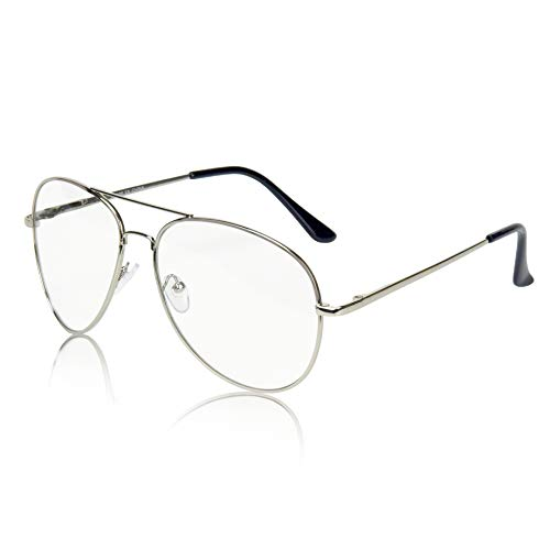 SunnyPro Aviator Eyeglasses Silver Clear Lens For And Men Costume UV Protection