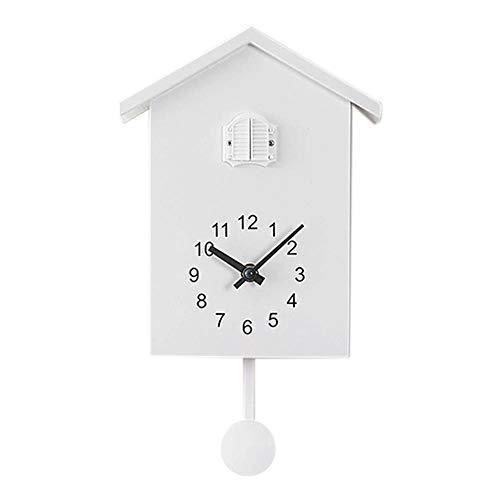 EDCV Kuckucksuhr Chalet-Stil, minimalistisches modernes Design Kuckucksuhr Wanduhr-Uhrwerk, Weiß