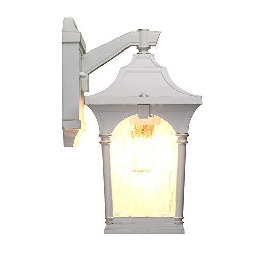 Modenny Vintage Edison Lumières Industrielles Rétro Loft Blanc Transparent En Verre Abat-Jour En Aluminium Applique Murale Extérieur Européenne Jardin Balcon Porte Terrasse Étanche Appliques Murales L