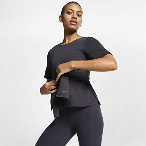 Nike Womens Studio Short Sleeve Wrap Top Oil Grey/Black SM