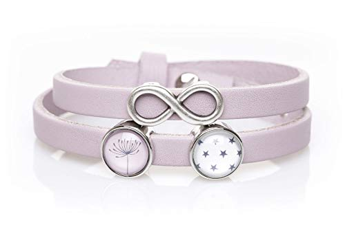 KT-Schmuckdesign Lederarmband - rosa, Infinity Symbol & 2 Schiebeperlen mit Motiv