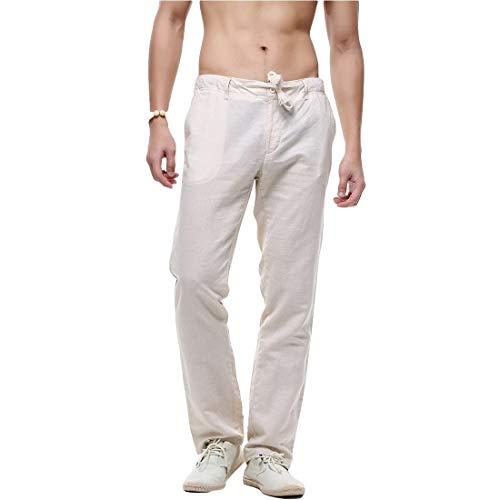 Laisla fashion Sommer Leinenhose Chinohose Für Herren Classic Arbeitshose Herren In Leichter Qualität Straight Fit In Weiß Schwarz Khaki Blau (Color : Khaki, Size : XL)