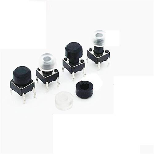 WHHHuan 50pcs 6 * 6 mm Transparente/Negro Botón Redondo Cap táctil Interruptor de Tapa for 6 * 6 mm Interruptores táctiles (Color : Negro)