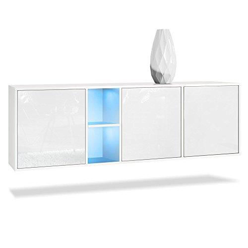 Vladon Sideboard Kommode Cuba, Korpus in Weiß matt/Fronten in Weiß Hochglanz, inkl. LED Beleuchtung
