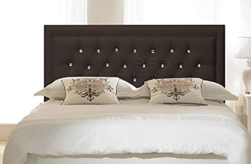 FAUX LEATHER 20' MIAMI HEADBOARD FOR DIVAN BED BASE (Brown, 4FT - SMALL DOUBLE)