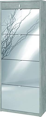 Zapatero con espejo natural 4 puertas abatibles y 1 cajón H164 L63 P29 cm Color cemento Sk568spk