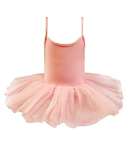 Carnavalife Maillot de Ballet Danza Nia Elstica con Falda Tutu de Tirantes Finos (Rosa, 1-3 aos)
