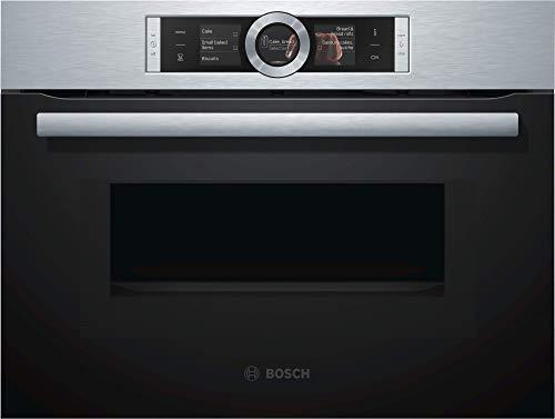 Four encastrable émail lisse Bosch CMG636BS1 - Four multifonction Chaleur tournante + Microondes / 45 litres / Inox / Porte froide (4 vitres) / hauteur 45 cm