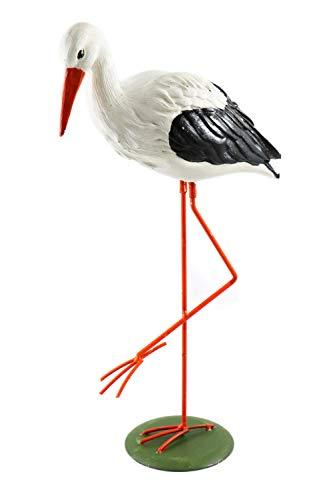Creation Gross mittelgroßer, weißer Storch Klapperstorch stehend aus Polyresin H.: 43cm Teich Weiher Figur