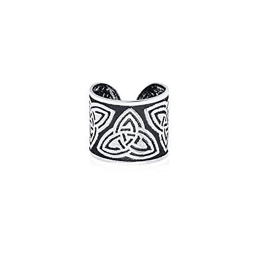 Unisex Boho Celtic Knot Tribal Style Swirl Wide Ear Cuff Earring Helix 1 Piece Non Pierced Cartilage Black Oxidized 925 Sterling Silver