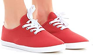 huge selection of e28f5 3efee Women Lace up Canvas Shoes, Casual Lightweight Sneakers