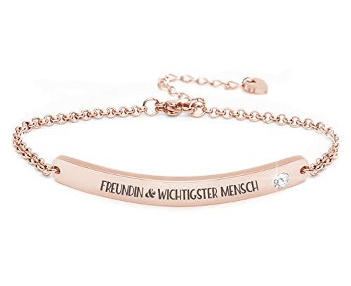 Silvity Damen Gravur-Armband Edenlstahl veredelt mit einem Swarovski¨ Kristall 16,5 cm bis 20,5 cm Frabe: Rosegold (Farbe: Rosegold Motiv: