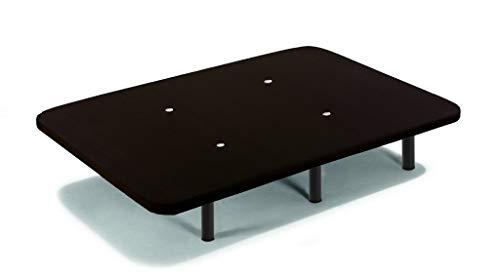 HOGAR24 ES Base tapizada con Tejido 3D Negro y válvulas de transpiración + 6 Patas de Metal Roscadas de 32cm-90x190cm
