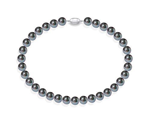 Schmuckwilly Muschelkernperlen Perlenkette Perlen Collier - schwarz Hochwertige Damen Muschelkernperlen Kette 45cm 12mm mk12mm072-45
