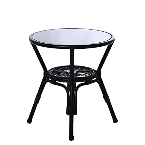 Mesa auxiliar moderna minimalista de doble capa de almacenamiento de vidrio templado redondo hierro forjado pequeña mesa de café para oficina/área de ocio/restaurante/café (38 x 50 x 50 cm)