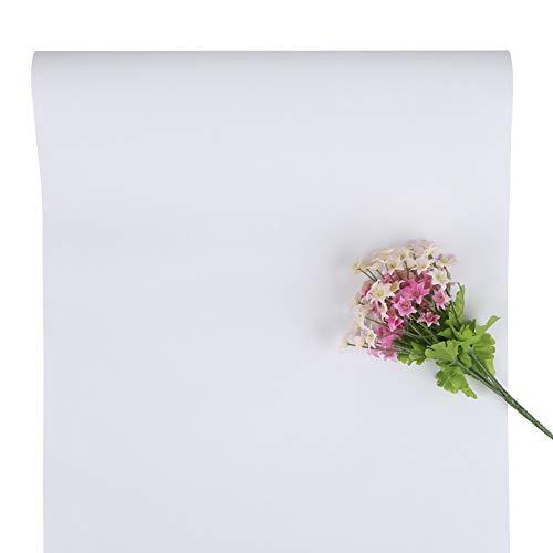 Weiße Tapete Selbstklebende Tapete Abnehmbare Tapete Tapeten Abziehen und Aufkleben Kontaktpapier für Wohnzimmer Schlafzimmer Küchenschranktür Regal und DIY Weihnachtsgeschenk 40 * 500cm