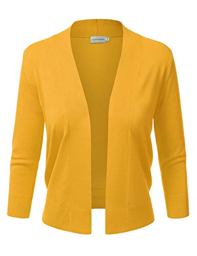 JJ Perfection Women's Basic 3/4 Sleeve Open Front Cropped Cardigan Mustard L