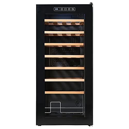 VIY Nevera para vinos, Temperatura: 5-22 °C, Ruido: 39 dB, 8 baldas metálicas, Luces LED protección UV Nevera Independiente para encimera, 32 Botellas, Negro,A