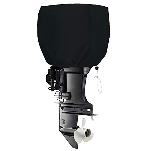 FLYMEI Outboard Motor Cover, Heavy Duty Boat Engine Hood Covers Waterproof Boat Motor Cover Outboard Engine Cover (Black, 115-225 HP)