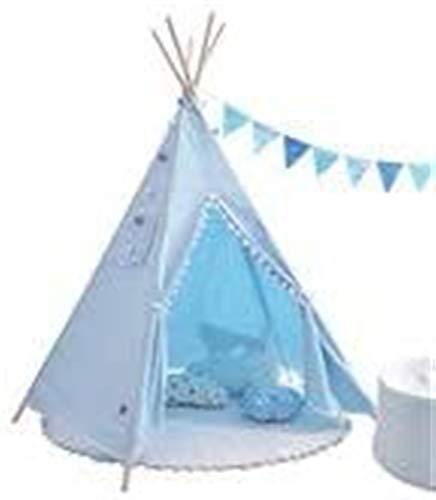 SHUNFENG-EU Niños Play Tent portátil Azul cónico Carpa Cabina Carpa Juego House niños 100% algodón Lienzo Tiendas de Lona de Madera niña Princesa Castillo Jardines Interior y al Aire Libre Juegos