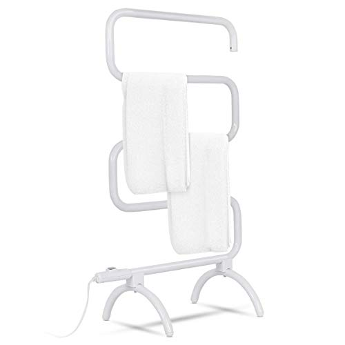 Tangkula Towel Warmer, Home Bathroom 100W Electric 5-Bar Towel Drying Rack, Freestanding and Wall Mounted Design Towel Hanger, Towel Heater, White (23' L x 13' W x 36' H)