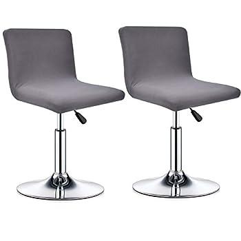 Deisy Dee Dining Room Chair Covers,Bar Stool Covers,Barstool Chair Slipcovers Pack of 2 C176  Grey