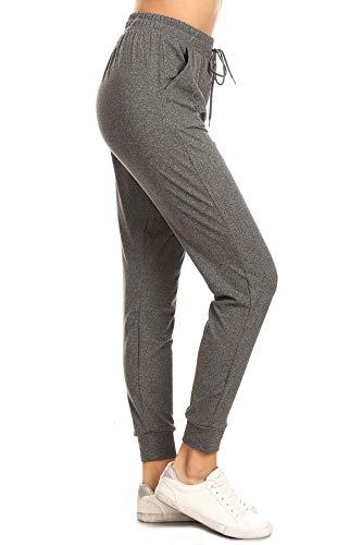 Leggings Depot JGA2-HCHARCOAL-S Heather Charcoal Solid Jogger Track Pants w/Pockets, Small